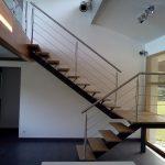Escalier de 2 volées et palier à limon central avec garde-corps inox - Lévignac - landes