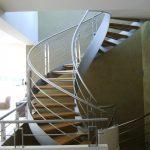 Escalier à 2 limons débillardés avec garde-corps inox - Hossegor - Landes