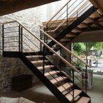 Escalier de 2 volées et palier avec limons latéraux en plats - Orthevielle - Landes